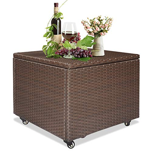ATR ART TO REAL Outdoor Patio Wicker Storage Container Deck Box Made of Antirust Aluminum Frames and Resin Rattan (22.4' L x 22.4' W x 17.7' H)