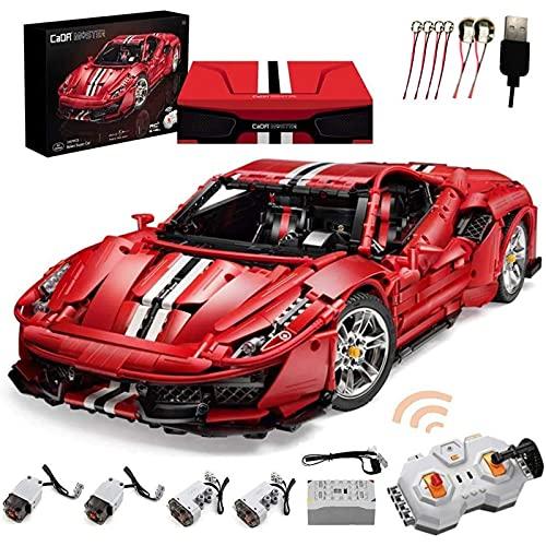 Master C61042w 488 coche deportivo de bloque de construcción técnica, modelo de carreras 1: 8 3187 piezas de coche de control remoto de bloque de construcción, compatible con Lego Red,59 * 25 * 13cm