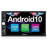 Vanku Android 10 Autoradio mit Navi PX6 System 64GB+4GB Unterstützt Qualcomm Bluetooth 5.0 DAB + Android Auto WiFi 4G 2 Din 7 Zoll Bildschirm