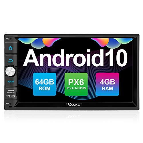 Vanku Android 10 Autoradio mit Navi PX6 64GB+4GB Unterstützt Qualcomm Bluetooth 5.0 DAB + Android Auto WiFi 4G 2 Din 7 Zoll Bildschirm