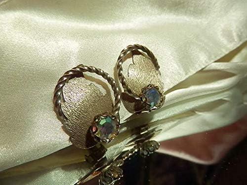 Vintage 60s AB Rhinestone Pretty Modernist Leaft Eternity Clip On Earrings PU-8943