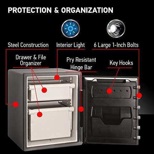 SentrySafe SFW205GQC Fireproof Safe and Waterproof Safe with Dial Combination 2.05 Cubic Feet Gray/Black