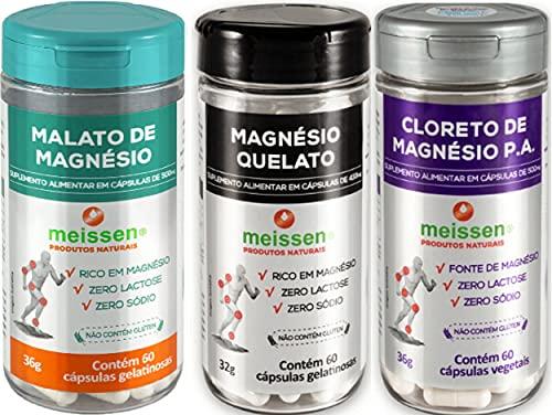 Magnésio Malato Quelato Cloreto Meissen 60 Cápsulas Kit Mix