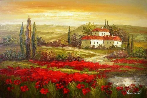 Real Hand Painted Italian Tuscany Red Poppy Field Canvas Oil Painting for Home Wall Art Decoration, Not a Print/Giclee/Poster