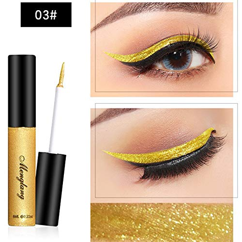 Rabusion Health For Glitter Liquid Eyeliner Pen Metallic Shine Eye Shadow & Liner Combination Pencil Eyes Makeup 3#