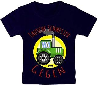 HARIZ HARIZ Baby T-Shirt Tausche Schwester Gegen Traktor Auto Polizei Plus Geschenkkarte Matrosen Dunkel Blau 15-24 Monate / 80-92cm