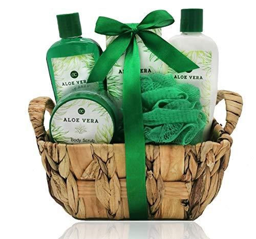 Badeset im Seegraskorb Aloe Vera mit Duschgel Bodylotion Badesalz Bodyscrub und Netzschwamm tolles Geschenkset Wellness Kosmetik