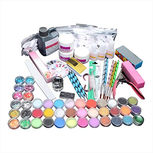 Ensemble Complet Acrylique UV Gel Primer pour Ongle Liquide Acrylique Manucure Lime à Ongle Polissoir Stylo Nail Art Kit (Multicolore)
