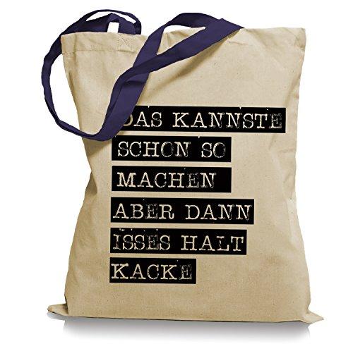 Ma2ca® Das Kannste schon so machen Tragetasche / Bag / Jutebeutel WM Farbiger Henkel-navy