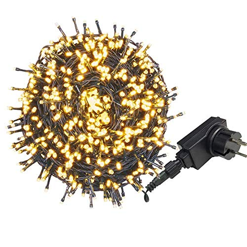 AUFUN LED Lichterkette Außen Ostern Außenlichterkette Weihnachtsbeleuchtung Wasserdicht IP44 mit 8 Leuchtmodi für Hochzeit,Party,Garten (50m,500LEDs,WarmWeiß)