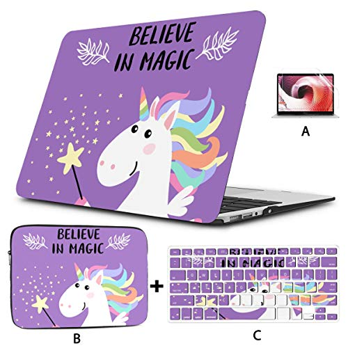 MacBook Pro Hard Cover Sweet Cartoon Unicorn Child and Baby Mac Book Pro Accessories Hard Shell Mac Air 11'/13' Pro 13'/15'/16' with Notebook Sleeve Bag for MacBook 2008-2020 Versi