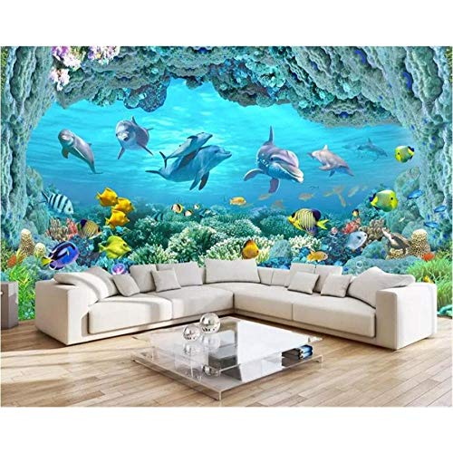 Clhhsy Custom Wallpaper 3D Murals Huge Panoramic Underwater World Coral Reef Dolphins Living Room Sofa Background Wall Paper-350X250Cm