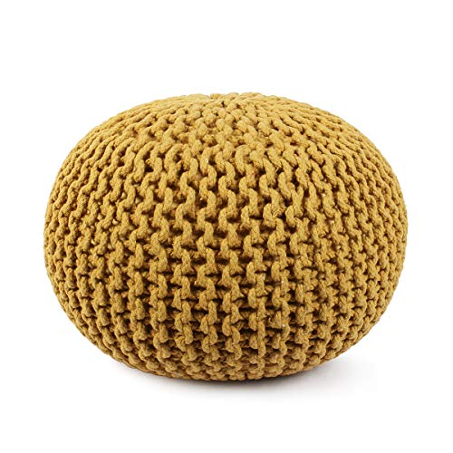 Artisans Of India Round Footrest Poof Stool Accent Pouffe Seat for Living Room Floor Ottoman, Bedroom, Nursery, Kidsroom, Patio, Lounge, Gym-100% Cotton (20x20x14 Inches) (Yellow)