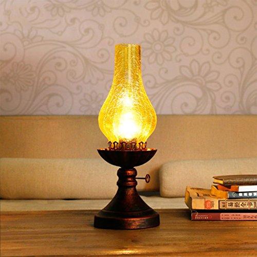 Creatieve nachtkastlamp, olielampje, LED E27 nachtkastje bureaulamp met glazen lampenkap voor slaapkamer, 14cm*38cm 212