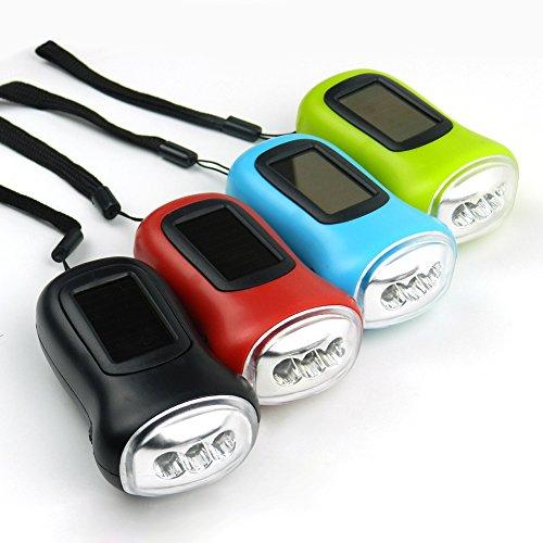 Christine - Linterna solar (1 unidad, 3 ledes, dinamo de manivela recargable, linterna de bolsillo para exteriores, camping, paseo, senderismo, emergencias automáticas y reparación del hogar)