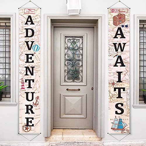 Adventure Awaits Bon Voyage Banner Garland Party Decoration Set Travel Themed Porch Sign Adventure for Indoor/Outdoor Retirement Moving Relocation Travel Wedding Bachelorette Party Decorations (Khaki
