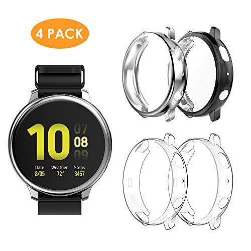 WD&CD Cover Compatibile per SAMSUNG Galaxy Watch Active 2 44mm [4 pezzi], TPU Morbide Antigraffio Custodia Piena Copertura Cover per Active 2 44mm, Trasparente*2 / Nero*1 / Argento*1