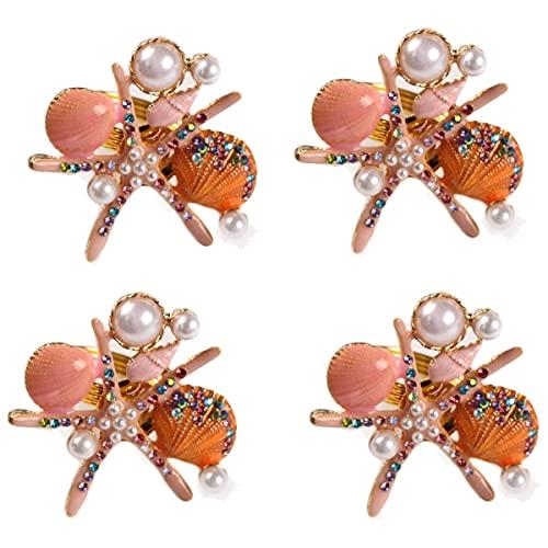 Kaxofang Servilleteros de Estrella de Mar de 4 Piezas, Servilleteros NáUticos Costeros de Diamantes de ImitacióN de Perlas, Hebilla de Servilleta para Fiesta, Rosa