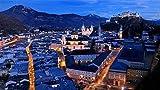PQGHJ Rompecabezas para Adultos 1000, 1000 Piezas Rompecabezas Salzburgo Luces nocturnas de la Ciudad Decoración de Imagen DIY para el hogar