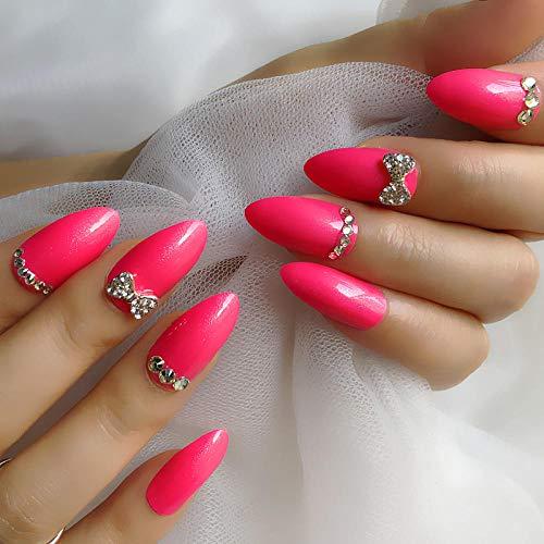CSCH Faux ongles Bowknot strass personnalisé 24 nail art à long point selon le faux nail art rose pointe de l'ongle rouge peut décoller les faux ongles pour envoyer des autocollants de colle