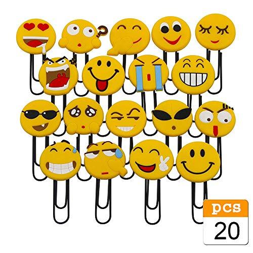 Nette Emoji Lesezeichen, lustige Paperclip Lesezeichen, Neuheit Emoticon Buch Marker für Kinder, Mädchen, Jungen, Schüler (Random 20PCS)