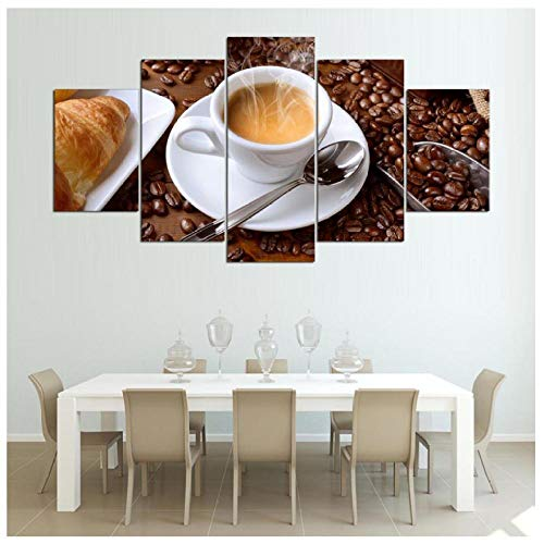 XXSCZ 5 Leinwandbilder HD gedruckte modulare Malerei Rahmen Leinwand Poster 5 Stück dampfende Kaffeetasse Bilder für Küche Essen Home Wall Art Dekor
