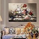 KWzEQ Clásico Europeo bodegones murales de Carteles arreglos Florales Sala de Estar decoración Pinturas murales,Pintura sin Marco,60x90cm