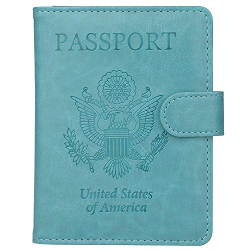 GDTK Leather Passport Holder Cover Case RFID Blocking Travel Wallet (Sky Blue)