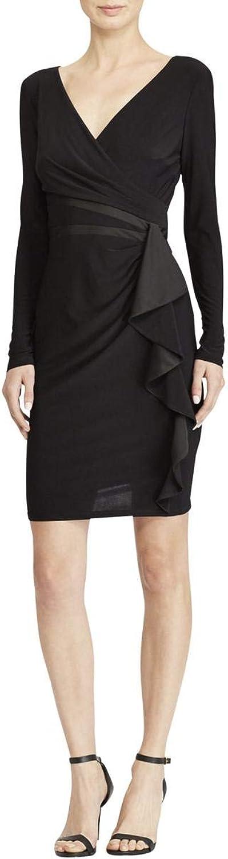 American Living Womens Satin Trim Wrap Dress Black 16