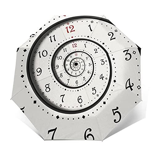 Paraguas Plegable Automático Impermeable Reloj Espiral, Paraguas De Viaje Compacto Prueba De Viento, Folding Umbrella, Dosel Reforzado, Mango Ergonómico