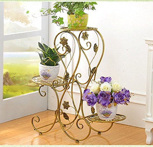 QFF Cadre de fleurs de style européen support à fleurs à étages et étagères intérieur et extérieur balcon salon salon de fleurs ( Couleur : Bronze )