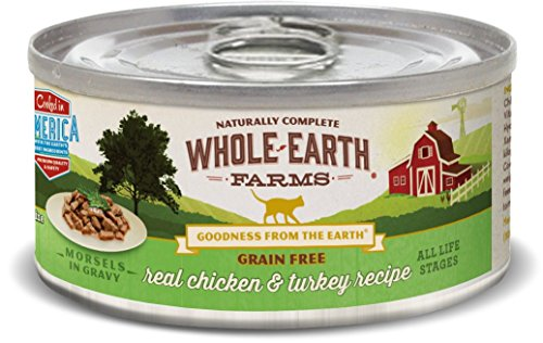 Whole Earth Farms Grain Free Wet Cat Food Real Chicken & Turkey (24) 5oz cans