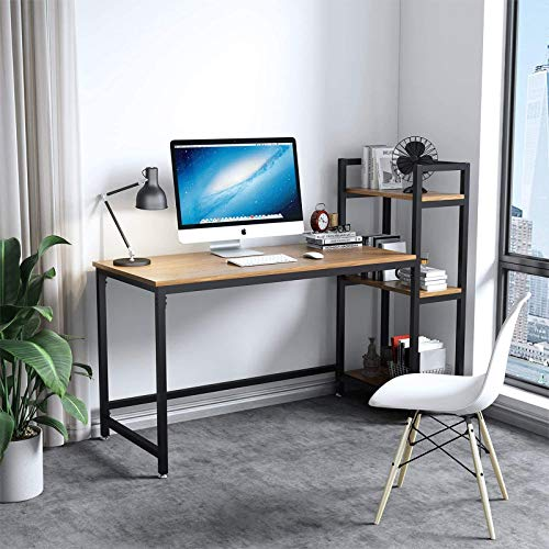 Dripex Tower Computer Desk with Storage Shelves, Convenient Study Table with Bookshelves, Modern Steel Frame Wood Desk for Home Office and Writing, Walnut Brown