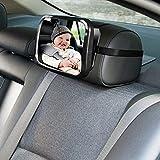 LdawyDE Miroir Voiture Bébé, Miroir de Voiture pour Bébé, Matériau ABS, boucle réglable, miroir pour bébé incassable le plus sûr pour voir les bébés orientés vers larrière, enfants (24 x 17 x 8cm)