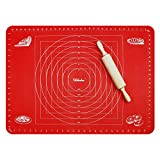Webake 70 x 50 cm Tapis de Cuisson Pâtisserie en Silicone avec Mesures Anti-adhésif Réutilisable Baking Mat Fondant Pâte - Rouge