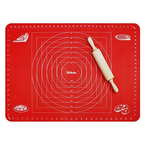 webake Silikon Backmatte 70x50cm Silikonmatte Backunterlage Antihaftbeschichtet Teigmatte Ausrollmatte Fondant Matte für Teigrollen Arbeitsmatte Fondant - Rot