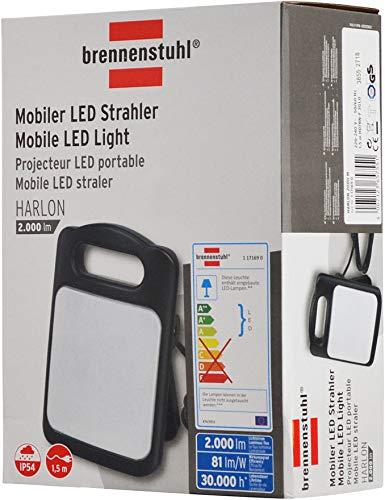 Brennenstuhl Projecteur LED portable Harlon 2000M (60 LED Smd, 30W, 2000 Lumens, Cordon 1, 5 M, Intérieur et Extérieur IP54), Noir