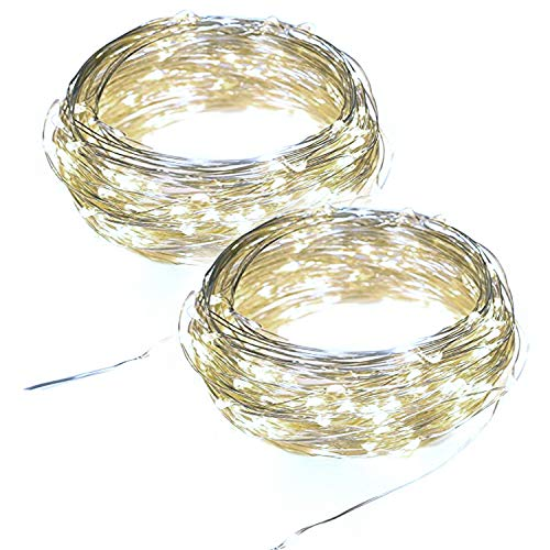 2 Waterproof Indoor Outdoor Battery Operated Copper Wire String Lights with Timer Starry Fairy Rope Lighting Bedroom Patio Garden Wedding Party Christmas Decor Decoration 10ft 30 Mini LEDs Cool White