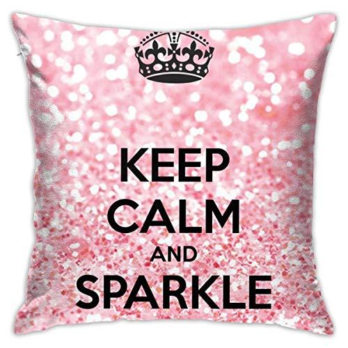 EU Throw Pillow Covers Keep Calm Sparkle Cotton Polyester Cushion Square Cases Pillowcases Sofa Home Decor 18' X 18' Inch