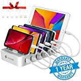 Charging Station for Multiple Devices - 6 Smart Charging Ports Docking Organizer - Compatible with iPhone iPad and Android Cell Phone and Tablet (6 Short Cables Included) (White)