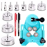 Swpeet 13Pcs Tile Hole Saw Set, Including 10Pcs 0.23-3.15 inch Diamond Drill Bits with Hole Saw Guide Jig Fixture and 2Pcs Marking Pen Adjustable Hole Saw Centering Locator Suction Holder for Tile