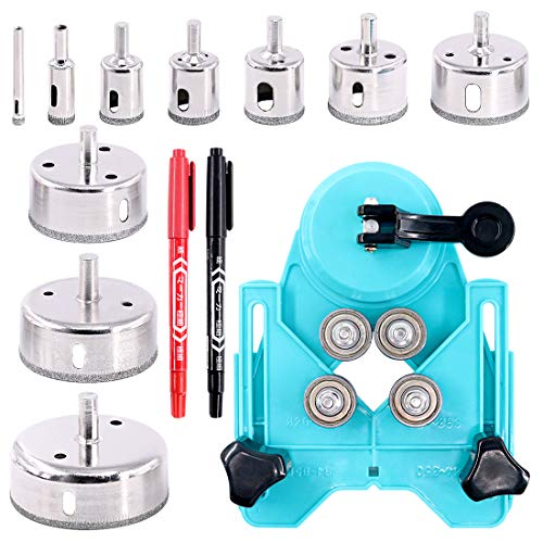Swpeet 13Pcs Tile Hole Saw Set, Including 10Pcs 0.23-3.15 inch Diamond Drill Bits with Hole Saw...