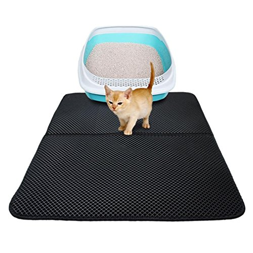 Price comparison product image GUAngqi Cat Litter Trapper Litter Mat Puppy Pad Folding Double-Layer Cat Litter Mat EVA Pet Mat Waterproof Base Layer Cat Mat, black