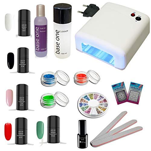 Kit de vernis à ongles à LED UV Athen, avec dispositif de traitement à la lumière UV, kit de vernis à gel, Gel-vernis à LED UV, vernis à ongles UV, vernis UV