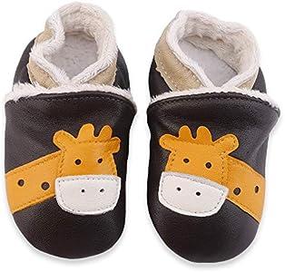 LPATTERN Zapatos de Cuero Suave para Bebés Zapatos Primeros Pasos Pantuflas Infantiles de Estar por Casa Patucos de Suela Suave con Patrón de Animal,Jirafa/Marrón(Invierno),12-18 Meses