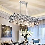 TZOE Dining Room Chandelier,Modern Rectangle Pendant Light,Crystal Chandelier,L29.1' x W11.4' x H48.5',6 Light, Adjustable Height,Polished Chrome,UL Listed