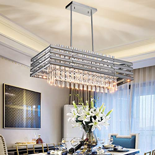 TZOE Dining Room Chandelier,Modern Rectangle Pendant Light,Crystal Chandelier,L29.1' x W11.4' x H48.5',6 Light, Adjustable Height,Polished Chrome,UL Listed
