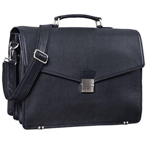 STILORD 'Morpheus' Aktentasche Leder Groß Herren XXL Businesstasche riesige Lehrertasche mit Laptopfach Dokumententasche mit Schloss Umhängetasche Echtleder, Farbe:schwarz
