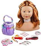Götz 1192054 Haarwerk mit roten Haaren und braunen Augen - 28 cm hoher Frisierkopf- und Schminkkopf in 58-teiligen Set - geeignet für Mädchen ab 3 Jahren