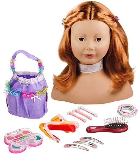 Götz 1192054 Tête à coiffer aux Cheveux Roux et aux Yeux Bruns - Tête à coiffer et à maquiller de 28cm de Haut dans Un Set de 58pièces- Convient aux Petites Filles à partir de 3Ans